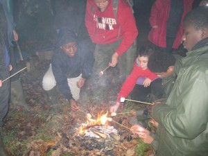 Boys gathered around a smokey campfire toasting marshmallows in the dark